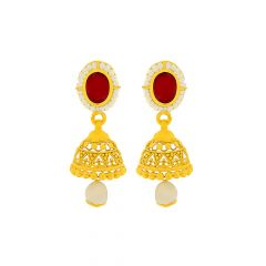 Traditional Cut Out Gemstone Gold Jhumka Earrings
