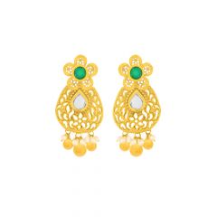 Traditional Cut Out Floral Kundan Gemstone Gold Earring