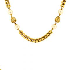 Ceremonial Pearl Gemstone Gold Necklace