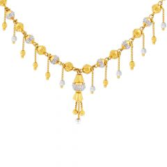 Traditional Embossed Dangler Bead Gold Necklace