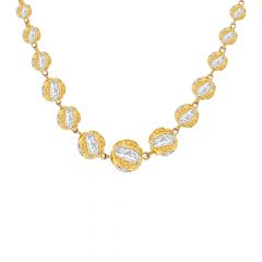 Attractive Traditional Rhodium Polish Bead Gold Necklace