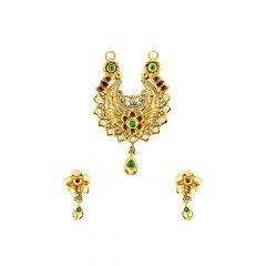 Stylish Traditional Floral Gemstone Gold Tanmaniya Set