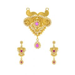 Traditional Floral Embossed Gemstone Gold Tanmaniya Set