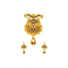 Ceremonial Embossed Ruby Gemstone Gold Tanmaniya Set
