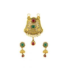 Ceremonial Cutout Gemstone Gold Tanmaniya Set