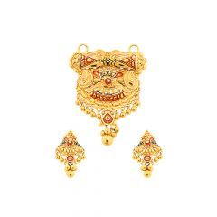 Unique Traditional Engraved Gold Tanmaniya set