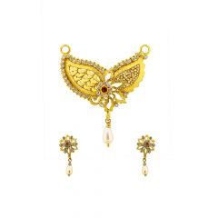 Delicated Floral With Leaf Pearl Gemstone Gold Tanmaniya Set
