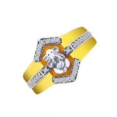 Religious Lord Ganesha CZ Diamond Gold Ring For Him