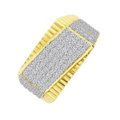 Dazzling Cluster CZ Damond Gold Ring For Him