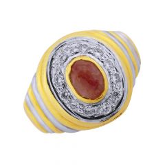 Sparking Ruby Gemstone CZ Diamond Gold Ring For Him-GRHJ-6680