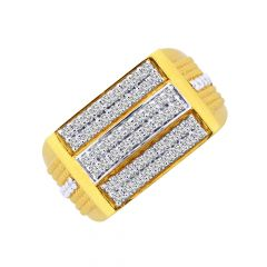 Sparkling CZ Diamond Gold Ring For Him