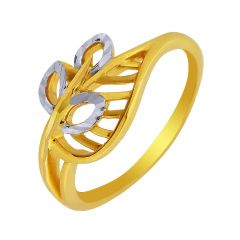Delicate Leaf Cutout Gold Ring-GRNV-5846