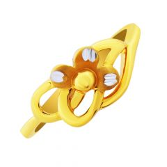 Dainty Budding Floral Design Gold Ring