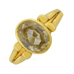 Faceted Yellow Topaz Gemstone Gold Ring For Him-RCR-12