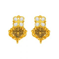 Traditional Textured Kundan Gold Earrings