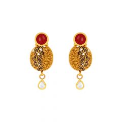 Traditional Textured Leaf Kundan Gemstone Dangler Gold Earrings