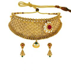 Ceremonial Textured Floral Kundan Chocker Gemstone Necklace Set