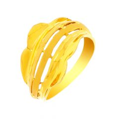 Classic Textured Cutout Gold Ring