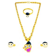 Fancy Enamel Donald Duck Gold Chain Pendant Set For Kids