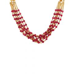 Traditional Multistrand Synthetic Pearl Gemstone 22kt Yellow Gold Necklace -CHN16208