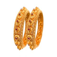 Traditional Synthetic Ruby 22kt Yellow Gold Bangle ( Set of 2) -GLK4189