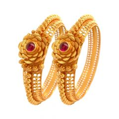Floral Cutout Synthetic Ruby 22kt Yellow Gold Bangle ( Set of 2) -GLK4959