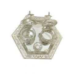 700 Purity Silver Haldi Kumkum Holder Plate-KDP0969