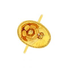 Stylish Textured Concave Floral Gold Ring -LRG20609