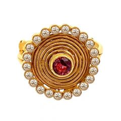 Traditional Circular Gemstone 22kt Yellow Gold Adjustable Ring -LRG23500