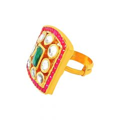 Traditional Geometric Kundan Gemstone Adjustable Gold Ring