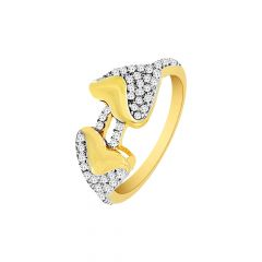 Fancy Cluster Dual Heart CZ Gold Ring