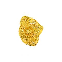 Traditional Textured Embossed Filigree Gold Ring