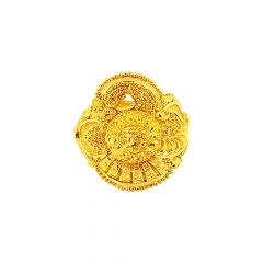Ceremonial Textured Embossed Bead Gold Ring