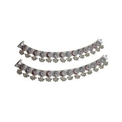 Traditional Textured Oxidise Gemstone 700 Purity Silver Anklet -SPF19633
