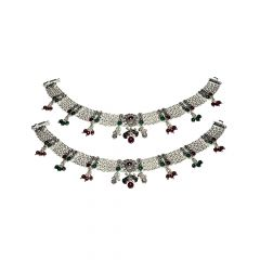 Traditional Textured Gemstone Oxidise 700 Purity Silver Anklet -SPF26176