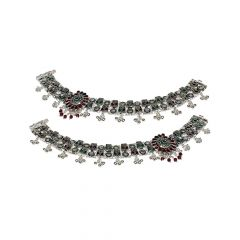 Classic Oxidise Paisley Gemstone 700 Purity Silver Anklet -SPF26478