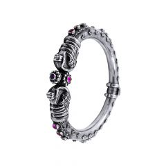 Antique Oxidised Enmbossed Bead Gemstone Openable Silver Kada -STRKD0189