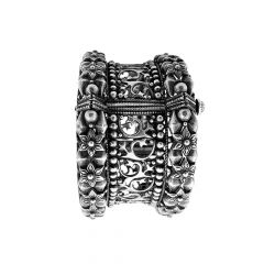 Antique Oxidised Floral Cutout Openable Silver Kada -STRKD0238