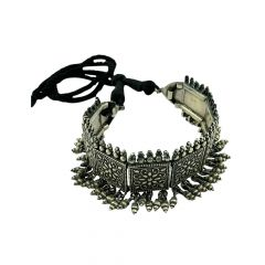 Antique Oxidised Engraved Chocker Silver Necklace -STRNS0029