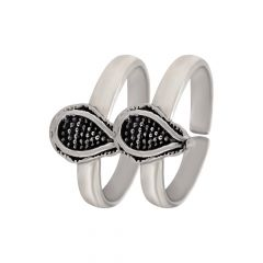 Elegant Drop Oxidized Silver Adjustable Toe Ring-STRTR0187