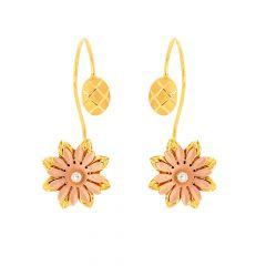 Blossom Floral Textured Sui Dhaga Gold Earrings
