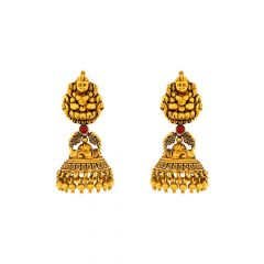 Ceremoinal Temple Textured Synthetic Colour Stone 22kt Yellow Gold Jhumka -TPP37602