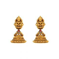 Classic Textured Peacock Temple Gemstone 22kt Yellow Gold Jhumka -TPP37604