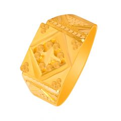 Ceremonial Embossed Gold Ring For Him