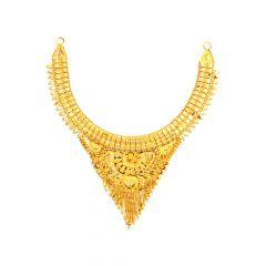 Traditional Textured Embossed Gold Necklace-NKL22-216
