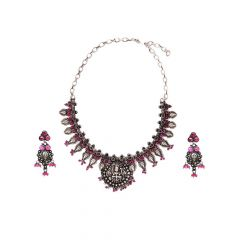 Eternal Antique Goddess Lakshmi Silver Gemstone Necklace Set