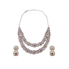 Traditional Antique Engraved Layered Gemstone Necklace Set