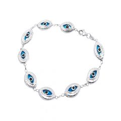 Unique Eye Shape Link 925 Silver Bracelet-lbl0001