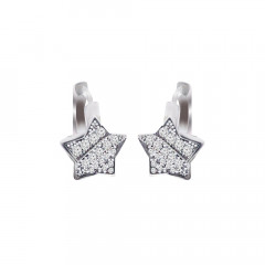 Sparkling Star Fashion Silver 925 White With CZ - Cubic Zirconia Earrings -240-LRE003