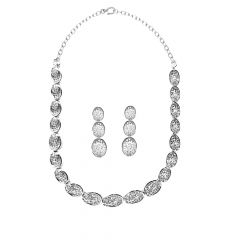 Fancy CZ Link 925 Silver Necklace Set-nl0001